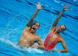 Jones and May of the U.S. perform in the synchronised swimming mixed duet technical final at the Aquatics World Championships in Kazan