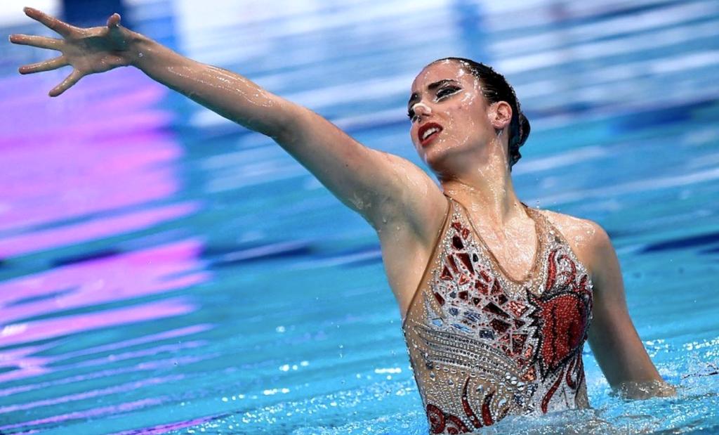 Vasiliki Alexandri swims in solo at the European Championships